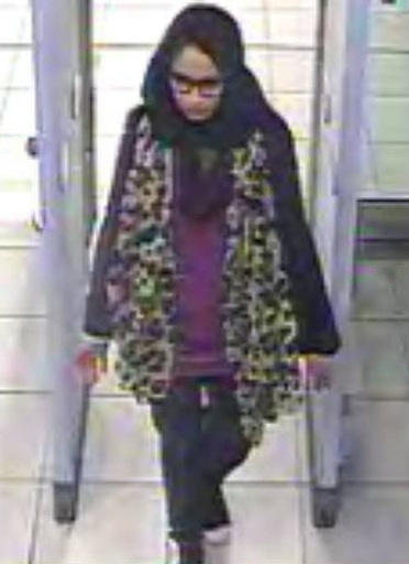 BEST QUALITY AVAILABLE Undated handout still taken from CCTV issued by the Metropolitan Police of east London schoolgirl Shamima Begum, going through security at Gatwick airport, before catching a flight to Turkey in 2015 to join the Islamic State group, she is now heavily pregnant and wants to come home.