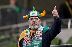 A Republic of Ireland fan shows support for his team in the stands before the FIFA World Cup qualifying play-off second leg match at the Aviva Stadium, Dublin.