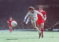 Football - 1976 - 1977 Liverpool v Leeds United, 02/04/1977. <br /> <br /> Peter Lorimer (Leeds). Liverpool v Leeds United, Football 1977. <br /> <br /> Credit: Colorsport