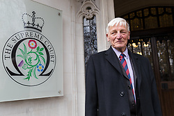 © Licensed to London News Pictures. 14/03/2019. London, UK.  Veteran Dennis Hutchings arrives at the Supreme Court in London for the latest hearing in his challenge against the decision to hold his trial over an incident in Northern Ireland during the troubles without a jury. Hutchings was supported at court this morning by members of the Justice for NI Veterans.  Photo credit: Vickie Flores/LNP
