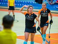 AMSTERDAM - Floor Sijtsma (groningen) scoort Zaalhockey hoofdklasse, Laren D1-Groningen D1 (2-2). COPYRIGHT KOEN SUYK