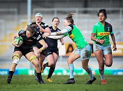 Kate Zackary of Exeter Chiefs is tackled by Emily Scott of Harlequins - Mandatory by-line: Andy Watts/JMP - 06/02/2021 - Sandy Park - Exeter, England - Exeter Chiefs Women v Harlequins Women - Allianz Premier 15s