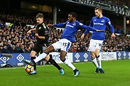 Cuco Martina of Everton (c) looks to tackle Marc Albrighton of Leicester City. Premier league match, Everton v Leicester City at Goodison Park in Liverpool, Merseyside on Wednesday 31st January 2018.<br /> pic by Chris Stading, Andrew Orchard sports photography.