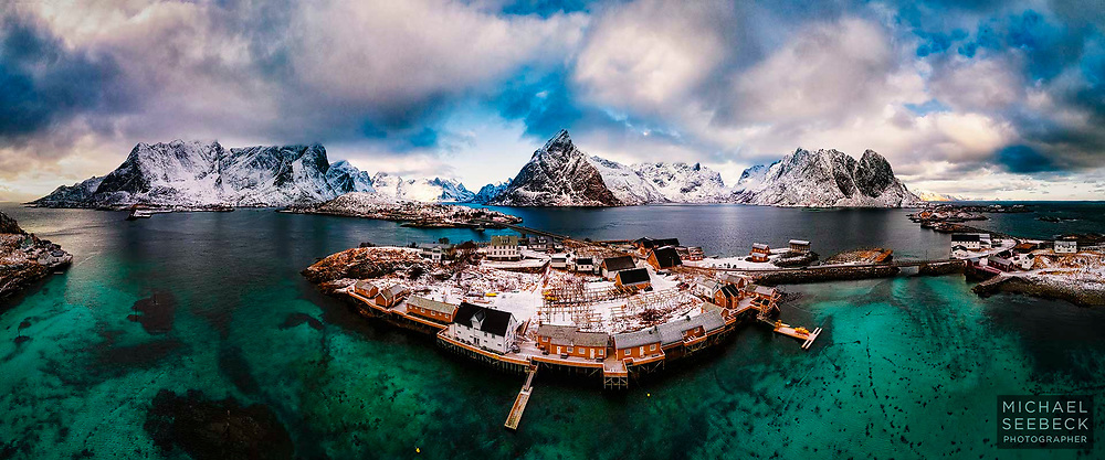 Sakrisoy Aerial Panorama - an aerial image captured from Sakrisoy, Lofoten Peninsula<br /> <br /> Limited Edition of 125