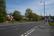 Coronavirus leaves usually busy roads almost deserted and devoid of traffic in Ladywood on 15th April 2020 in Birmingham, England, United Kingdom. Coronavirus or Covid-19 is a new respiratory illness that has not previously been seen in humans. While much or Europe has been placed into lockdown, the UK government has put in place more stringent rules as part of their long term strategy, and in particular social distancing.