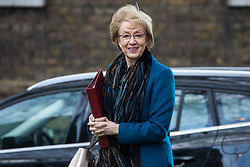 London, UK. 28 January, 2020. Andrea Leadsom, Secretary of State for Business, Energy and Industrial Strategy, arrives at 10 Downing Street for a National Security Council meeting convened to finalise the role of Chinese multinational technology company Huawei in the construction of the UK's 5G digital network.