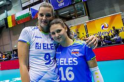 23-08-2017 NED: World Qualifications Greece - Slovenia, Rotterdam<br /> SloveniÎ wint met 3-0 / Iza Mlakar #9 of Slovenia, Veronika Mikl #16 of Slovenia<br /> Photo by Ronald Hoogendoorn / Sportida