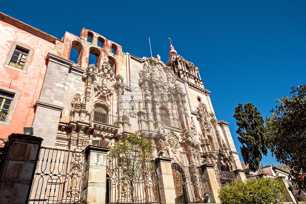 Churrigueresque styled facade of the Templo de la Compania in the historic center of Guanajuato City, Guanajuato, Mexico. The massive church is the religious center for the Jesuit order and built in 1767.