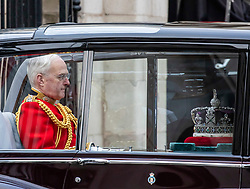 © Licensed to London News Pictures. 19/12/2019. The Imperial State Crown and Sword travel in their own Rolls Royce as The Queen is driven by car for the State Opening of Parliament for the Queen's speech at the new Parliament. Photo credit: Alex Lentati/LNP