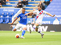 LEICESTER, ENGLAND - JULY 04: Youri Tielemans of Leicester City is closed down by James McArthur of Crystal Palace during the Premier League match between Leicester City and Crystal Palace at The King Power Stadium on July 4, 2020 in Leicester, United Kingdom. Football Stadiums around Europe remain empty due to the Coronavirus Pandemic as Government social distancing laws prohibit fans inside venues resulting in all fixtures being played behind closed doors. (Photo by MB Media)