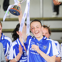 6 August 2012; Roisin Looney, Clare, lifts the cup. Both teams wore provincial colours due to a colour clash, Clare, blue, and Roscommon, white. All-Ireland Ladies Football Minor B Championship Final, Clare v Roscommon, St. Brendan's Park, Birr, Co. Offaly. Picture credit: Pat Murphy / SPORTSFILE *** NO REPRODUCTION FEE ***