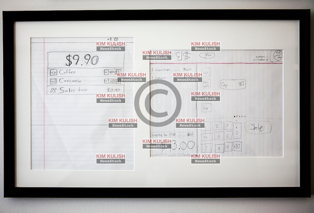 Scenes from Square, a mobile payments company in San Francisco, California.  The original pencil drawings for the idea for Square are famed and on display in the upstairs lobby.