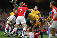 Mark Chisholm of Australia is upended by Sam Warburton of Wales. Invesco Perpetual series, autumn international, Wales v Australia at the Millennium Stadium in Cardiff on Sat 6th Nov 2010.  pic by Andrew Orchard, Andrew Orchard sports photography,