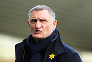 Blackburn Rover's manager Tony Mowbray during the EFL Sky Bet Championship match between Derby County and Blackburn Rovers at the Pride Park, Derby, England on 8 March 2020. during the EFL Sky Bet Championship match between Derby County and Blackburn Rovers at the Pride Park, Derby, England on 8 March 2020.