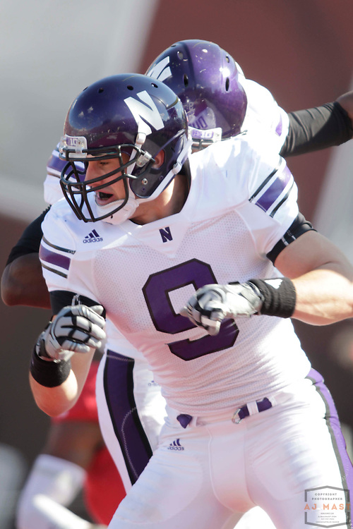 29 October 2011: Northwestern Wildcats tight end Drake Dunsmore (9) as the Northwestern Wildcats played the Indiana Hoosiers in a college football game in Bloomington, Ind.