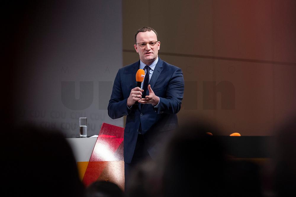 30 NOV 2018, BERLIN/GERMANY:<br /> Jens Spahn, CDU, Bundesgesundheitsminister, haelt eine Rede, waehrend der Regionalkonferenz der CDU zur Vorstellung der Kandidaten fuer das Amt des Bundesvorsitzenden der CDU, Estrell Convention Center<br /> IMAGE: 20181130-01-006