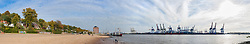 Panoramic view of harbor and bank of River Elbe, Hamburg, Germany, Europe
