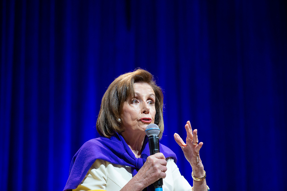 """Speaker of the House Nancy Pelosi (D-Calif.) during """"California Votes for Women: A Golden State Suffrage Celebration,"""" an event at the California Museum on Saturday, Nov. 9, 2019, in Sacramento, Calif."""
