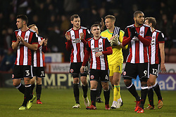 Sheffield United applaud the fans after the 0-0 draw with Sheffield Wednesday - Mandatory by-line: Robbie Stephenson/JMP - 12/01/2018 - FOOTBALL - Bramall Lane - Sheffield, England - Sheffield United v Sheffield Wednesday - Sky Bet Championship