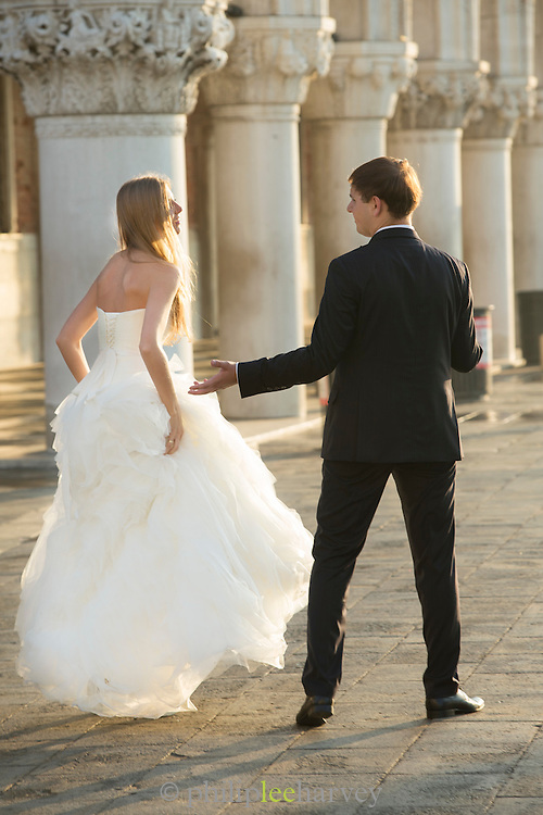 Newly Wed couple in St Mark's Square.Venice, Italy, Europe