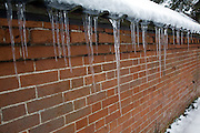 Icicles hanging down against red brick wall