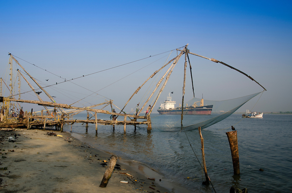 Traditional Chinese Fishing Nets in Fort Cochin, Kerala, South India