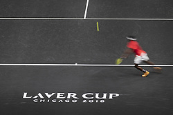 September 21, 2018 - Chicago, Illinois, U.S - FRANCES TIAFOE of the United States hits from the baseline against GRIGOR DIMITROV of Bulgaria during the first match on Day One of the Laver Cup at the United Center in Chicago, Illinois. (Credit Image: © Shelley Lipton/ZUMA Wire)