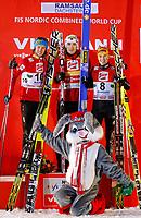 Kombinert<br /> FIS World Cup<br /> Ramsau Østerrike<br /> 15.11.2012<br /> Foto: Gepa/Digitalsport<br /> NORWAY ONLY<br /> <br /> FIS Weltcup, Siegerehrung. Bild zeigt Mikko Kokslien. Magnus Moan (NOR), Fabian Riessle (GER) und das Maskottchen Hops