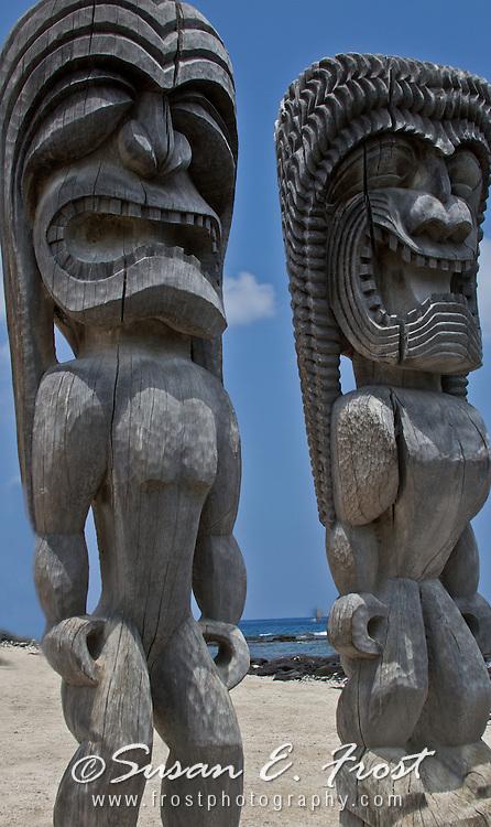 Tiki statues at Pu'uhonua o Honaunau, Place of Refuge, Big Island Hawaii
