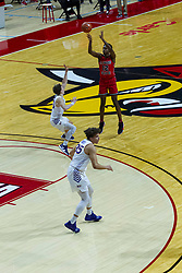 NORMAL, IL - February 27: Antonio Reeves shoots the 3 pointer over Bowen Born during a college basketball game between the ISU Redbirds and the Northern Iowa Panthers on February 27 2021 at Redbird Arena in Normal, IL. (Photo by Alan Look)
