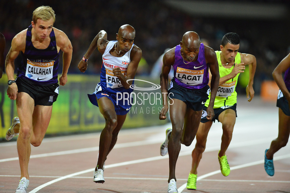 Mo Farah at start of the mens 3000m at the Sainsbury's Anniversary Games at the Queen Elizabeth II Olympic Park, London, United Kingdom on 24 July 2015. Photo by Mark Davies.