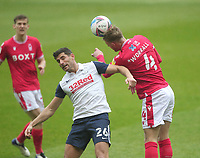 Preston North End's Ched Evans in action with  Nottingham Forest's Joe Worrall<br /> <br /> Photographer Mick Walker/CameraSport<br /> <br /> The EFL Sky Bet Championship - Nottingham Forest v Preston North End - Saturday 8th May 2021 - The City Ground - Nottingham<br /> <br /> World Copyright © 2020 CameraSport. All rights reserved. 43 Linden Ave. Countesthorpe. Leicester. England. LE8 5PG - Tel: +44 (0) 116 277 4147 - admin@camerasport.com - www.camerasport.com