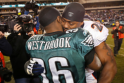 Philadelphia Eagles running back Brian Westbrook #36 exchanges words with Denver Broncos safety Brian Dawkins #20 after the NFL game between the Denver Broncos and the Philadelphia Eagles on December 27th 2009. The Eagles won 30-27 at Lincoln Financial Field in Philadelphia, Pennsylvania. (Photo By Brian Garfinkel)
