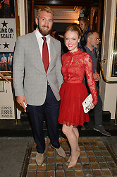 England Rugby captain CHRIS ROBSHAW and CAMILLA KERSLAKE at the West End opening night of 'Great Britain' a  play by Richard Bean held at The Theatre Royal, Haymarket, London followed by a post show party at Mint Leaf, Suffolk Place, London on 26th September 2014.