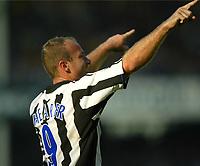Photo Aidan Ellis.<br />Everton v Newcastle United.<br />FA Barclaycard Premiership.<br />13/09/2003.<br />Newcastle's Alan Shearer celebrates his second penalty
