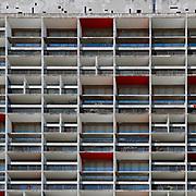 Firminy-Vert, France Alvernia Rodano Alpi: Nord front, Unité d'Habitation, Firminy-Vert (1965 -1967), Cité Radieuse by Le Corbusier arch. Photographs by Alejandro Sala (Historical archivi AS)