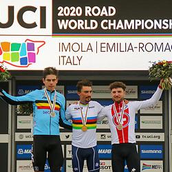 27-09-2020: wielrennen: WK weg mannen: Imola<br /> Julian Alaphillipe world champion road in Imola Italy. 2nd Wout van Aert (Belgium) and 3th Mark Hirschi (Switserland)