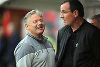 Football - 2021 / 2022 EFL Sky Bet League Two - Crawley Town vs Salford City - The People's Pension Stadium - Tuesday 17th August 2021<br /> <br />  Crawley Manager John Yems shares a joke withSalford Manager, Gary Bowyer<br /> <br /> Credit : COLORSPORT/Andrew Cowie
