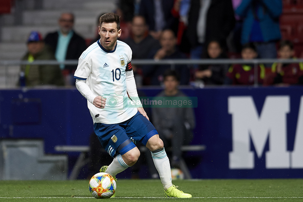March 22, 2019 - Madrid, Madrid, Spain - Lionel Messi (Barcelona) of Argentina in action during the international friendly match between Argentina and Venezuela at Wanda Metropolitano Stadium in Madrid, Spain on March 22 2019. (Credit Image: © Jose Breton/NurPhoto via ZUMA Press)