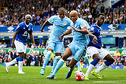 Manchester City captain, Vincent Company battles with Everton's Romelu Lukaku  - Mandatory byline: Matt McNulty/JMP - 07966386802 - 23/08/2015 - FOOTBALL - Goodison Park -Everton,England - Everton v Manchester City - Barclays Premier League