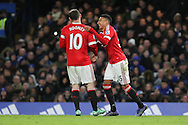 Jesse Lingard of Manchester United celebrates his goal with Wayne Rooney of Manchester United during the Barclays Premier League match between Chelsea and Manchester United at Stamford Bridge, London, England on 7 February 2016. Photo by Phil Duncan.
