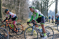 Pia de Quint reaches the end of the long Dalakersweg cobbles - Ronde van Drenthe 2016, a 138km road race starting and finishing in Hoogeveen, on March 12, 2016 in Drenthe, Netherlands.