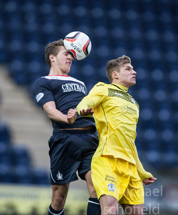 Falkirk's Will Vaulks and <br /> Falkirk 1 v 0 Queen of the South, Scottish Championship game today at the Falkirk Stadium.<br /> © Michael Schofield.