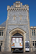 A 3663 food service delivery lorry drives through the main gate of HMP Kingston. Portsmouth, United Kingdom. Kingston prison is a category C prison holding indeterminate sentenced prisoners.