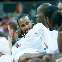 06 August 2012: France Ronny Turiaf is seen on the bench during 79-73 Team France victory over Team Nigeria, during the men's basketball preliminary, at the Basketball Arena, in London, Great Britain.