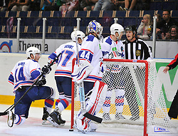 23.08.2013, Loefbergs Lila, Karlstad, SWE, European Trophy, Ishockey Faerjestad vs Adler Mannheim, im Bild Färjestad 29 Max Görtz gör 1-0 mal Adler Mannheim depp deppig besviken besvikelse sorg ledsen sad disappointment disappointed dejected // during the European Trophy Icehockey match betweeen Ishockey Faerjestad and Adler Mannheim at the Loefbergs Lila in Karlstad, Sweden on 2013/08/23. EXPA Pictures © 2013, PhotoCredit: EXPA/ PicAgency Skycam/ Simone Syversson<br /> <br /> ***** ATTENTION - OUT OF SWE *****