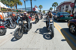 Dana Cooley, Tracy Herndon and the Iron Lillies on the Hot Leathers ride in downtown Daytona during the Daytona Bike Week 75th Anniversary event. FL, USA. Tuesday March 8, 2016.  Photography ©2016 Michael Lichter.