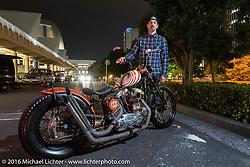 Aaron Neilson of Australia with his custom Harley-Davidson Sportster after the Mooneyes Yokohama Hot Rod & Custom Show. Yokohama, Japan. December 4, 2016.  Photography ©2016 Michael Lichter.