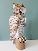 """Cardboard Owl, February 2021, (20"""" x 8"""" x 8"""")<br /> <br /> Artist's Statement: Daniel Twedt<br /> University of Memphis, Fall 2020 & Spring 2021<br /> I enrolled at the University of Memphis as an art novice, having recently retired from a 30+ year<br /> career as an ornithologist. I previously had an introductory art class as a college freshman, but<br /> that was in the early 1970's. Needless to say, I have forgotten whatever I had learned nearly 50<br /> years ago! Thus, eager to polish any latent artistic skills that have lain dormant, I tackled<br /> projects in beginning ceramics and basic foundations courses. I have enjoyed the creative<br /> atmosphere I have found at the University of Memphis – despite the limitations imposed by<br /> online learning. I look forward to more advanced classes, on campus, in the future."""