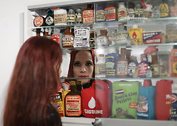 Felt artist Lucy Sparrow during a press preview of her exhibition Shoplifting, which showcases the most shoplifted items in the UK, at the Lawrence Alkin Gallery in central London.